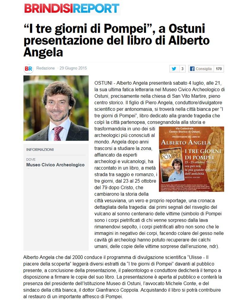 A Ostuni presentazione del libro di Alberto Angela (BrindisiReport.it)