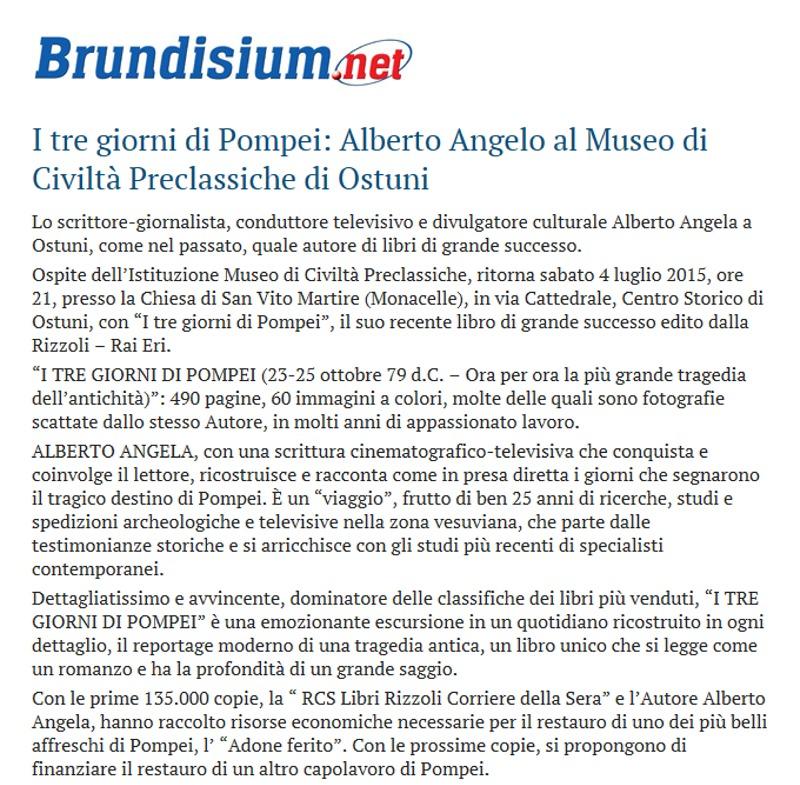 I tre giorni di Pompei: Alberto Angela al Museo di Ostuni (Brundisium.net)
