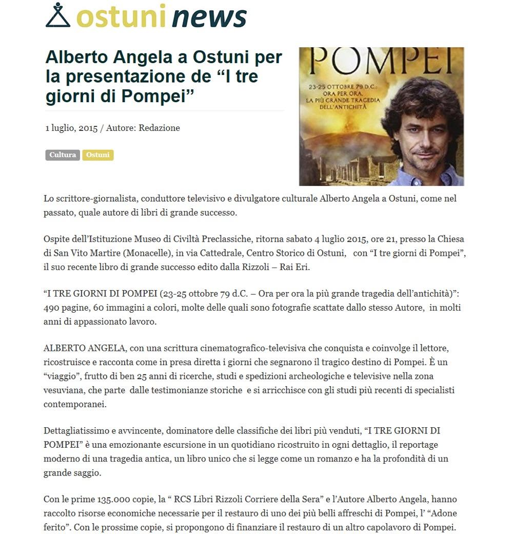 """Alberto Angela ad Ostuni per """"I tre giorni di Pompei"""" (ValleDItriaNews.it)"""