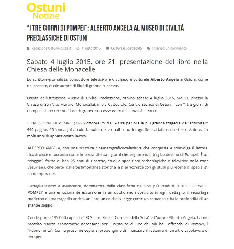 """""""I tre giorni di Pompei"""": Alberto Angela al Museo (OstuniNotizie.it)"""