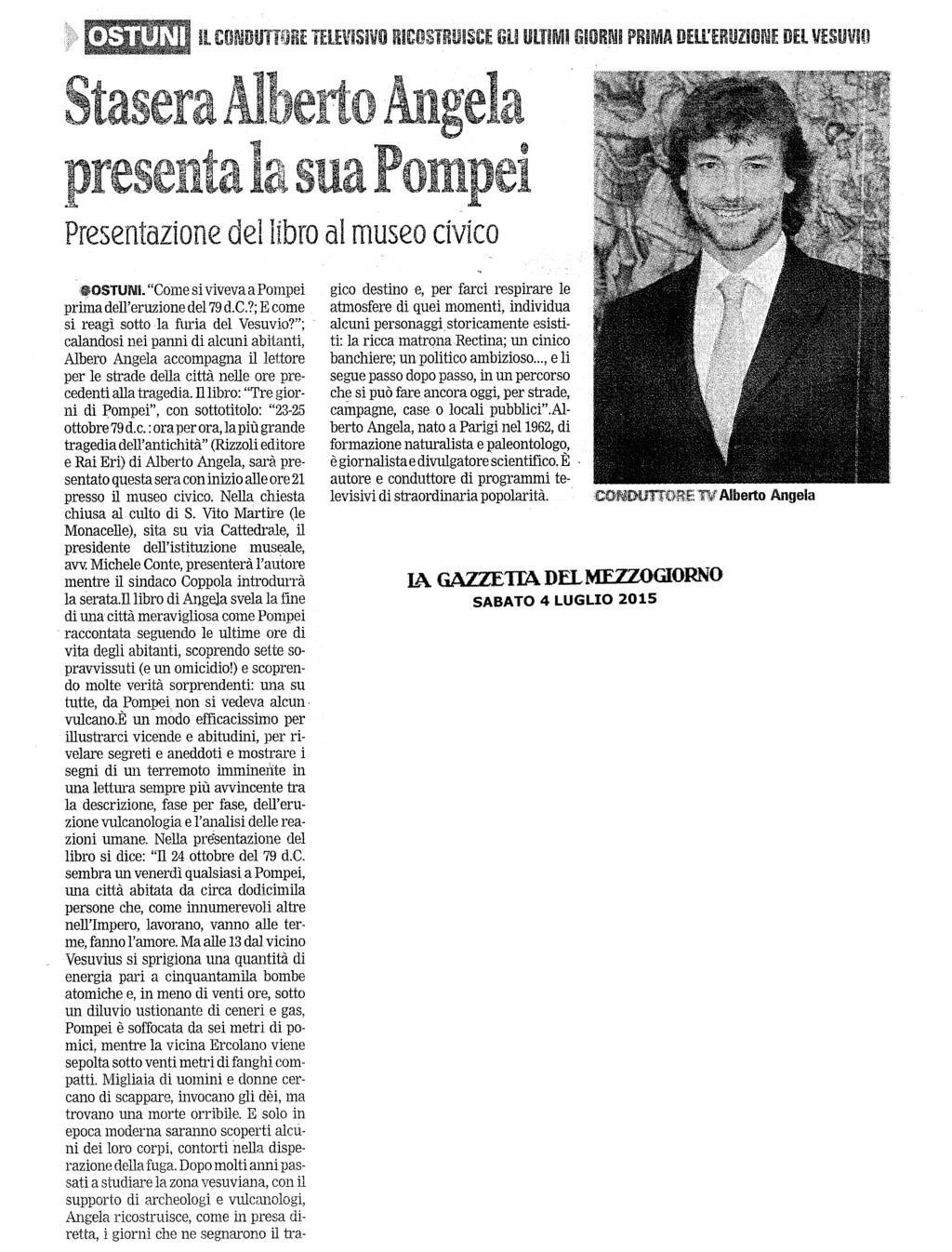 Stasera Alberto Angela presenta la sua Pompei (La Gazzetta del Mezzogiorno)