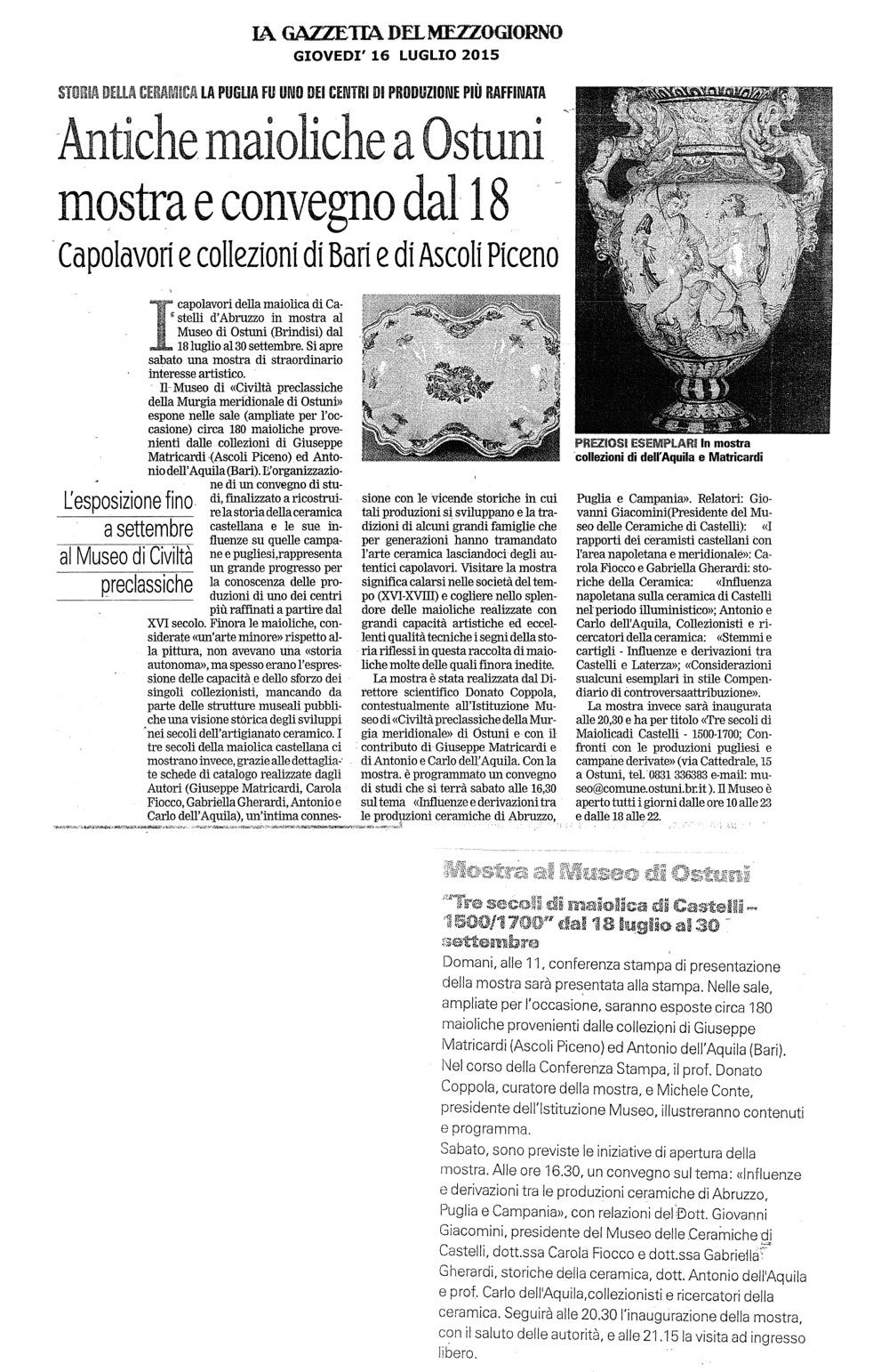 Antiche Maioliche ad Ostuni (La Gazzetta del Mezzogiorno)
