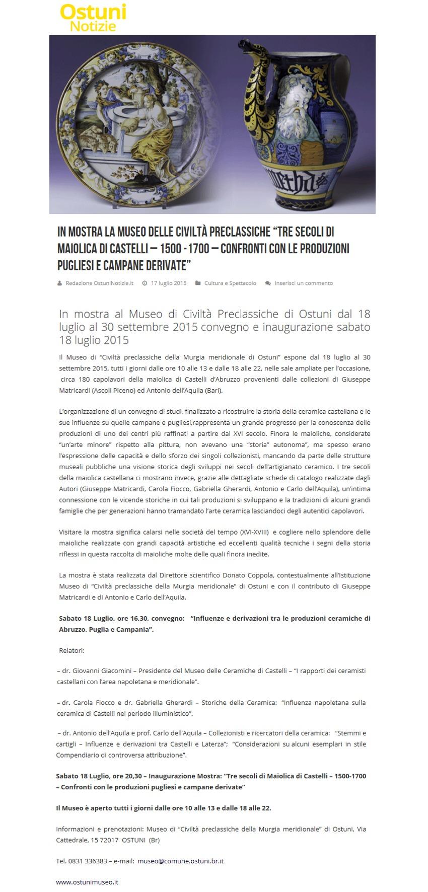 """In mostra al Museo """"Tre secoli di maiolica di Castelli"""" (OstuniNotizie.it)"""