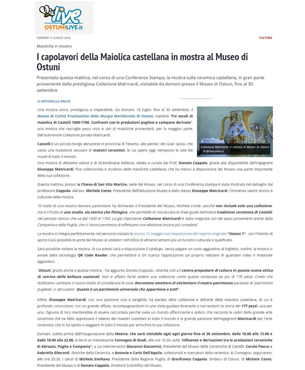 I capolavori della Maiolica castellana in mostra al Museo di Ostuni (OstuniLive.it)