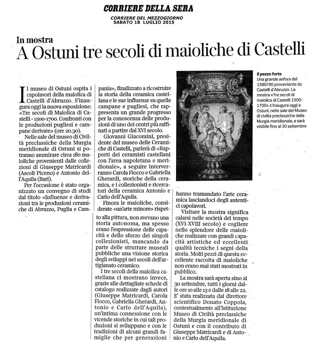 A Ostuni tre secoli di maioliche di Castelli (Il Corriere della Sera)