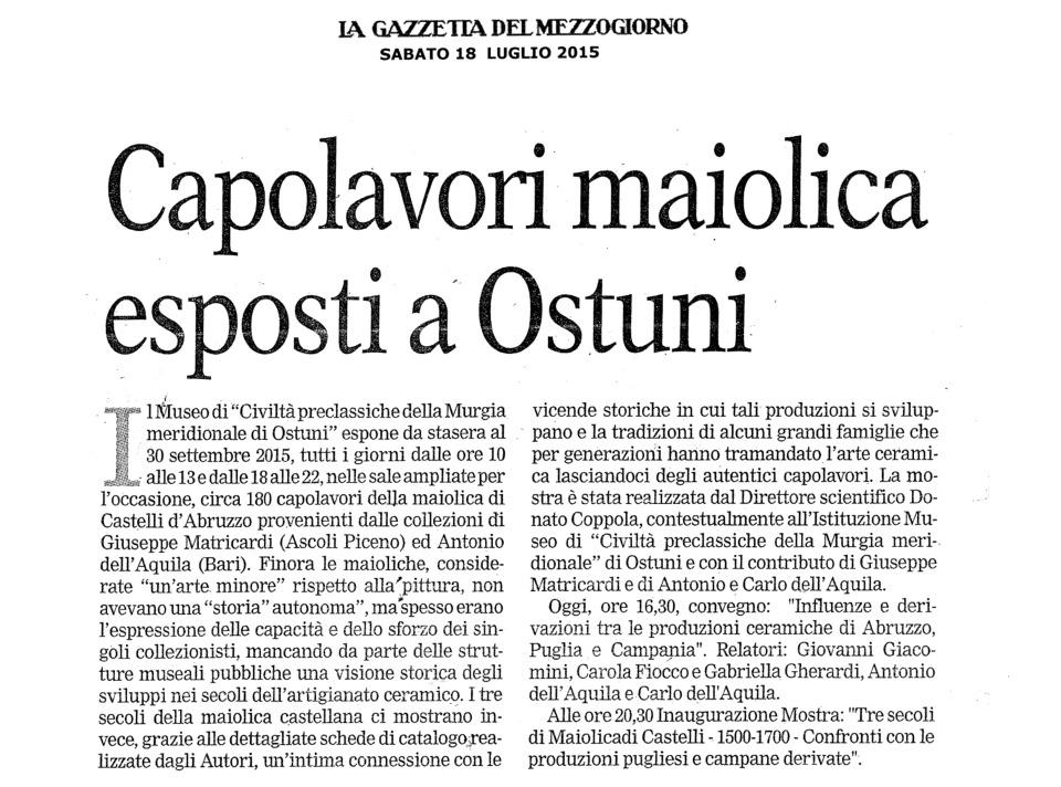 Capolavori Maiolica esposti ad Ostuni (La Gazzetta del Mezzogiorno)