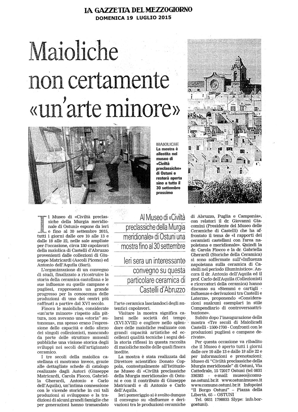 """Maioliche non certamente """"un'arte minore"""" (La Gazzetta del Mezzogiorno)"""