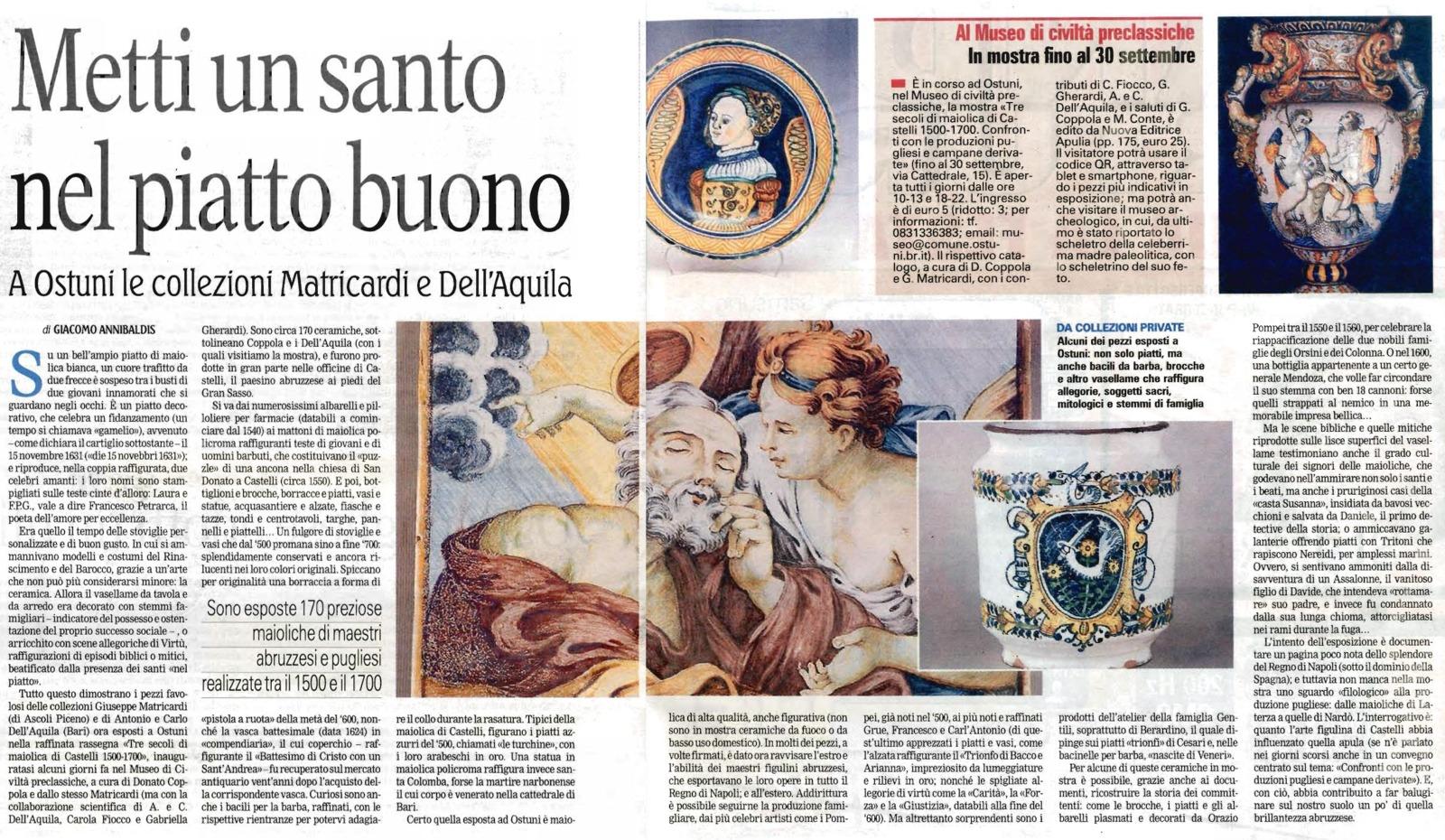 Metti un Santo nel piatto buono: le collezioni Matricardi e Dell'Aquila (La Gazzetta del Mezzogiorno)