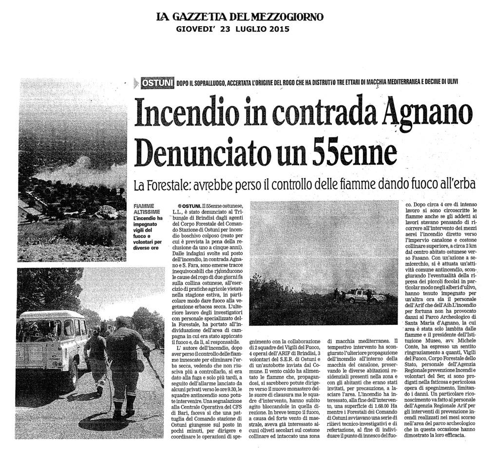 Incendio in contrada Agnano. Denunciato un 55enne